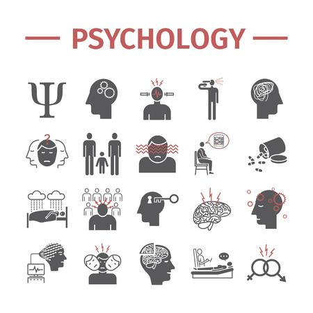 Ensemble d'icônes vectorielles de psychologie. Infographie. Signes vectoriels pour les graphiques Web. Vecteurs