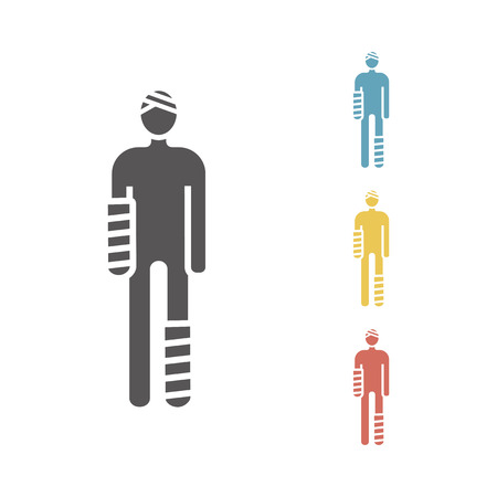 Injured man in bandages Vector signs for web graphics. 版權商用圖片 - 112253334
