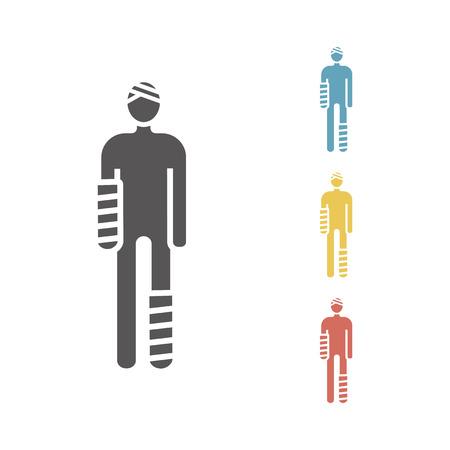 Verletzter Mann in Bandagen Vektorzeichen für Webgrafiken. Vektorgrafik