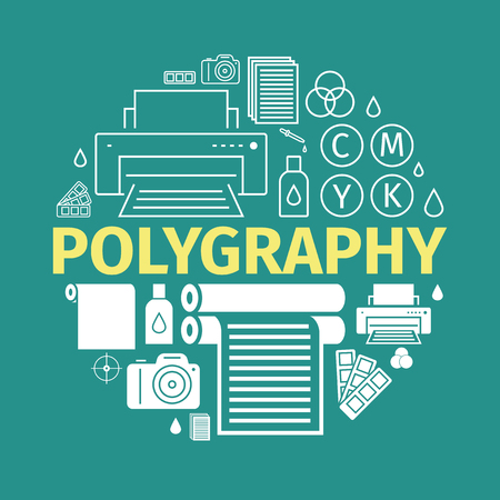 Printing polygraphy banner. Vector infographic. Printing elements.