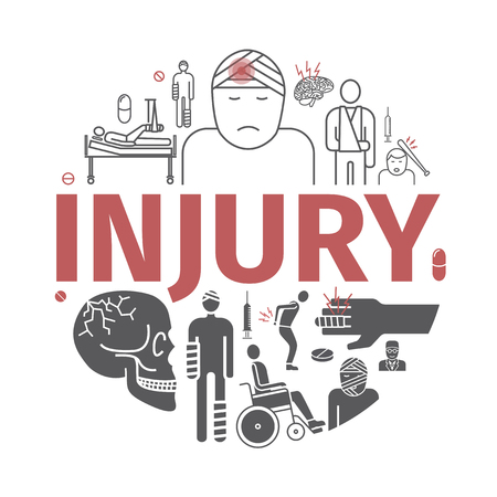 Injury line icons set. Vector signs for web graphics.