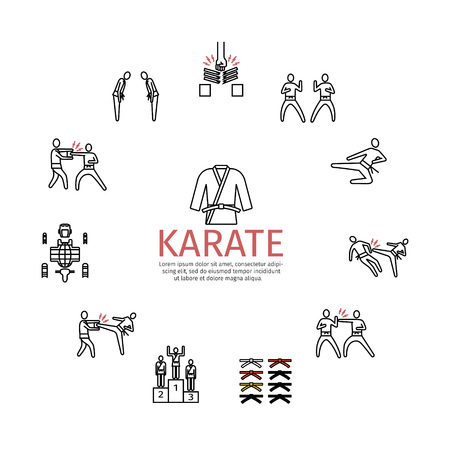Karate line icons set. Vector signs for web graphics