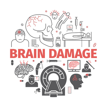 Traumatic brain injury line icon. Head Injury. Vector signs for web graphics.
