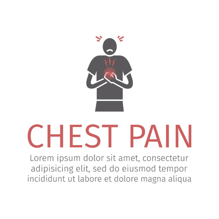 Pain in the chest during exercise. Vector sign for web graphic. Illustration