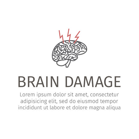 Brain damage line icon Vector sign for web graphic.