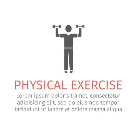 Physical exercise. Man exercising with dumbbells. Workout Flat icon