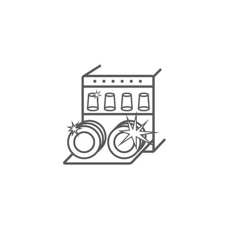 Dishwasher line icon. Household appliances symbol. Vector sign for web graphic.