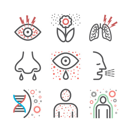 Allergy symptoms line icons infographic. Vector sign for web graphic. Stockfoto