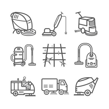 Industriereinigungsdienst. Arbeiter. Vakuum-Wäscher. Kehrmaschinen. Dünne Linie Symbolsatz. Vektor-Illustration.