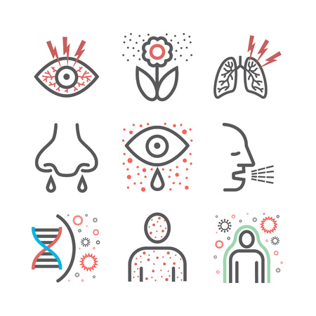 Allergy symptoms icons infographic. Vector sign for web graphic. Illustration