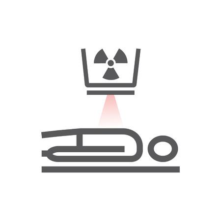 Tomografía computarizada corporal, tomografía computarizada. Icono de línea. Signo de radioterapia. Símbolo de vector para gráfico web.