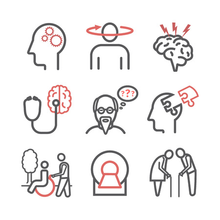 Alzheimer's disease and dementia. Symptoms, Treatment. Line icons set. Vector signs for web graphics.