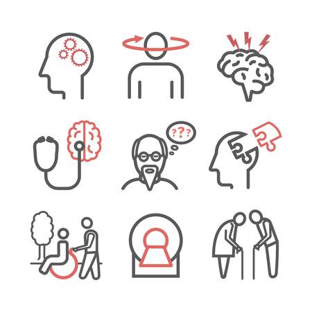 Alzheimer und Demenz. Symptome, Behandlung. Liniensymbole gesetzt. Vektorzeichen für Webgrafiken.