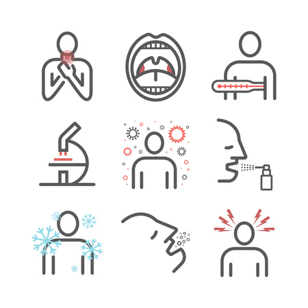 Tonsillitis. Symptoms, Treatment. Line icons Vector signs for web graphics