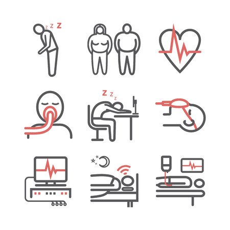 Sleep Apnea. Symptoms, Treatment. Line icons. Vector signs for web graphics 向量圖像