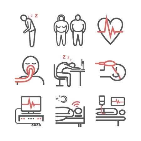 Sleep Apnea. Symptoms, Treatment. Line icons. Vector signs for web graphics Illustration