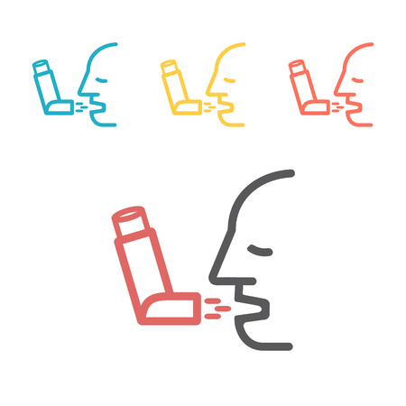 Inhaler for asthma icon. Vector illustration sign