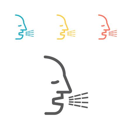 Cough line icon. Vector line illustration
