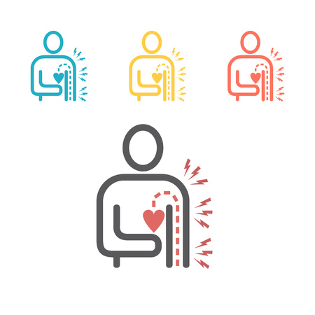 Heart pain icon. Vector sign for web graphics. Vector Illustration