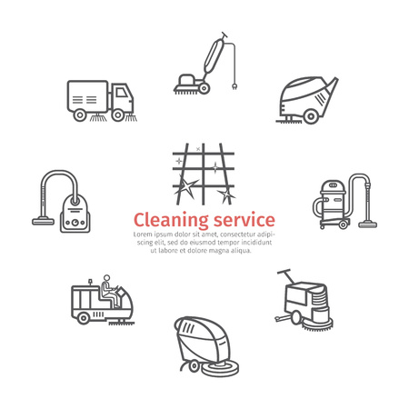 Industrial Cleaning Service. Worker. Vacuum Scrubber. Sweeper Machines. Thin icon set. Vector illustration
