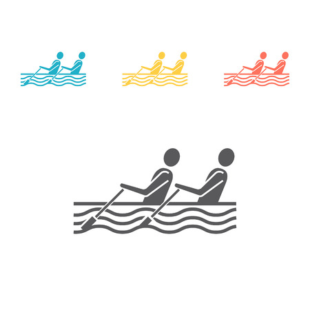 Rowing flat icon, Vector signs for web graphics. Illustration