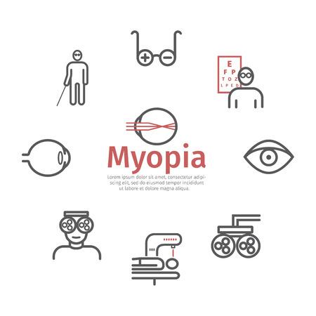 Myopia line icons set. Vector illustration for websites, magazines, brochures Vectores