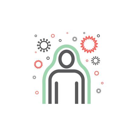 Immunity system line icon. Human immune system vector design. Virus and bacteria illustration