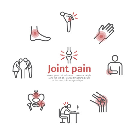 Joint pain. Flat icons set. Vector signs for web graphics.