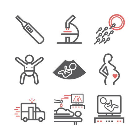 Pregnancy line icons set. Infographics. Vector signs for web graphics.