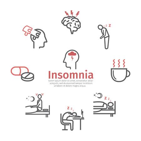 Insonnia, sintomi. Set di icone di linea. Segni di vettore per il web Vettoriali