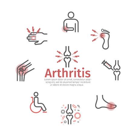 Arthrite. Symptômes, traitement. Icônes de ligne Signes vectoriels pour les graphiques Web