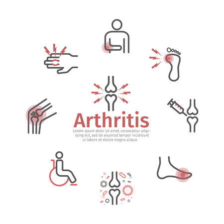 Artritis. Síntomas, tratamiento. Iconos de línea Signos vectoriales para gráficos web