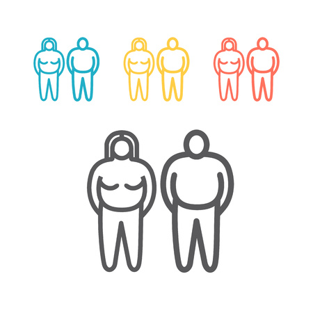Fat people line icon. Overweight sign symbol. Vector illustration.