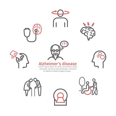 Alzheimer en dementie. Symptomen, behandeling. Lijn pictogrammen instellen. Vectortekens voor webafbeeldingen.