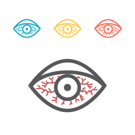 Red eye icon. Vector sign for web graphics. Illustration