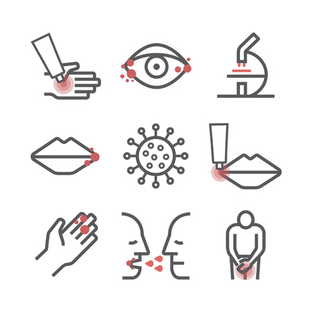 Herpes. Symptoms. Line icons set. Vector signs for web graphics