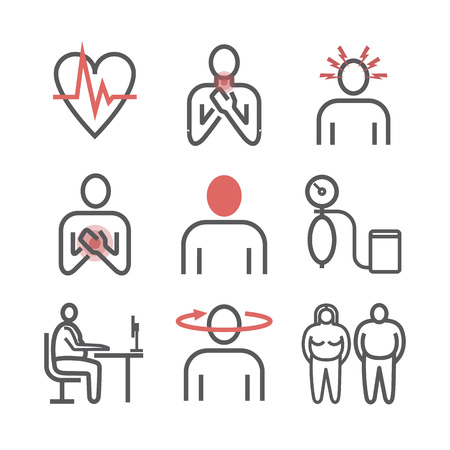 Hypertension. Symptoms. Line icons set. Vector signs for web graphics Ilustracja