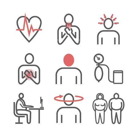 Ipertensione. Sintomi. Set di icone di linea. Segni vettoriali per la grafica web