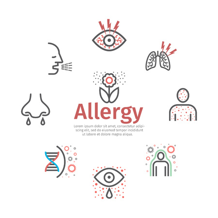 Allergy symptoms icons infographic. Vector sign for web graphic. Stock Illustratie
