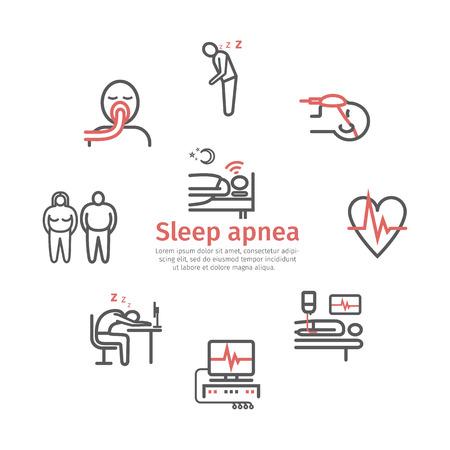 Sleep Apnea. Symptoms, Treatment. Line icons. Vector signs for web graphics