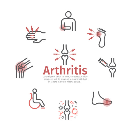 Arthritis. Symptoms, Treatment. Line icons Vector signs for web graphics