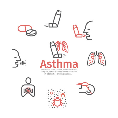 Asthma banner. Symptoms. Asthma line icons. Vector signs for web graphics. Stock Vector - 116055813