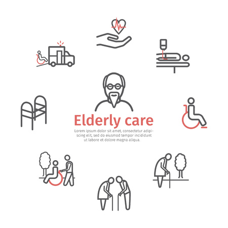 Elderly services icons set. Care Help and Accessibility. Disabled People. Vector illustration. Ilustração