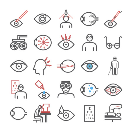 Glaucoma. Symptoms. Line icons set. Vector signs for web graphics
