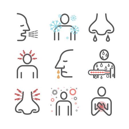 Influenza. Flu Symptoms, Treatment. Line icons set. Vector signs for web graphics