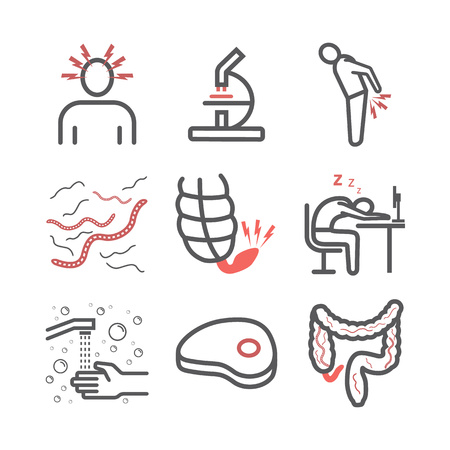 Tapeworms. Symptoms, Treatment. Line icons set. Vector signs for web graphics