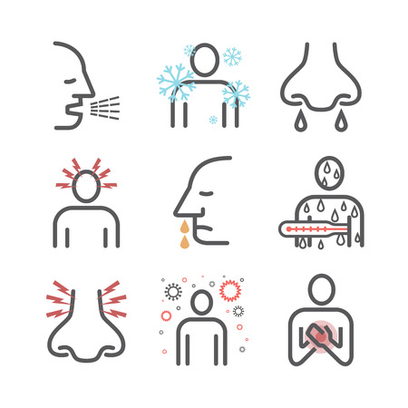 Influenza. Flu Symptoms, Treatment. Line icons set. Vector signs for web graphics