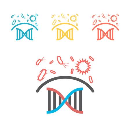 Immunity system line icon. Human immune system vector design. Virus and bacteria illustration Ilustração Vetorial