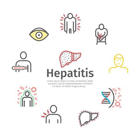 Icône de ligne hépatite Infographie. Symptômes, traitement. Signes de vecteur pour les graphiques Web.