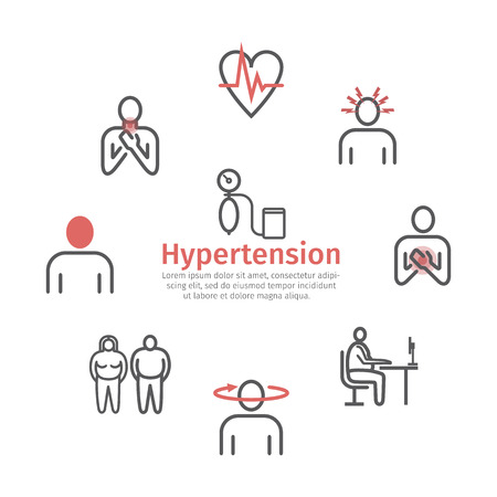 Hypertension. Symptoms. Line icons set. Vector signs for web graphics
